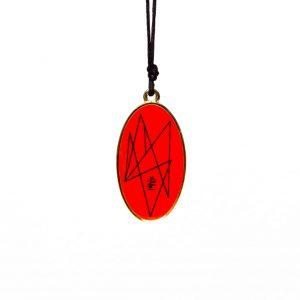 Oval Red 9 Harmonising Pendant on brass