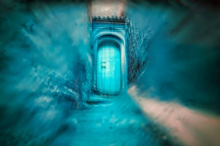 Esoteric photo of a door in blue